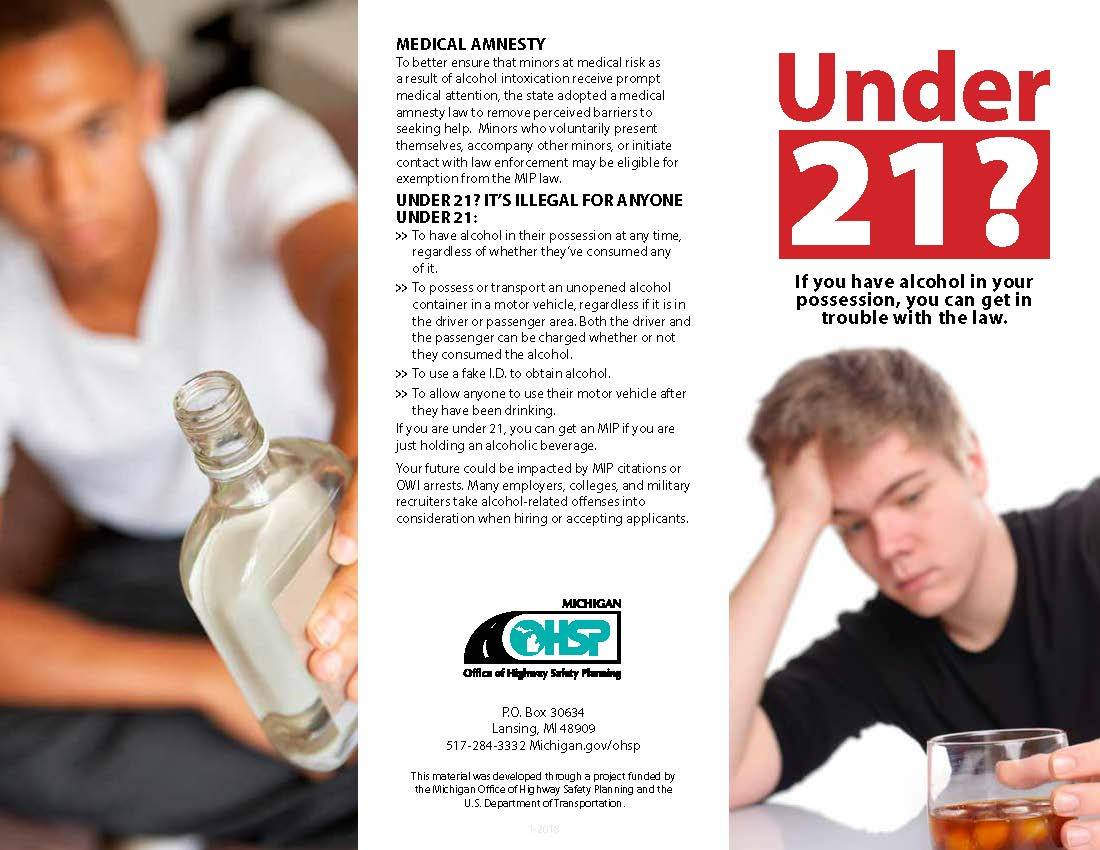 Photo of Michigan Office of Highway Safety Planning brochure on minor in possession of alcohol